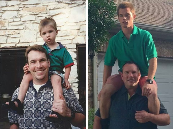 papà con il figlio di 21 anni