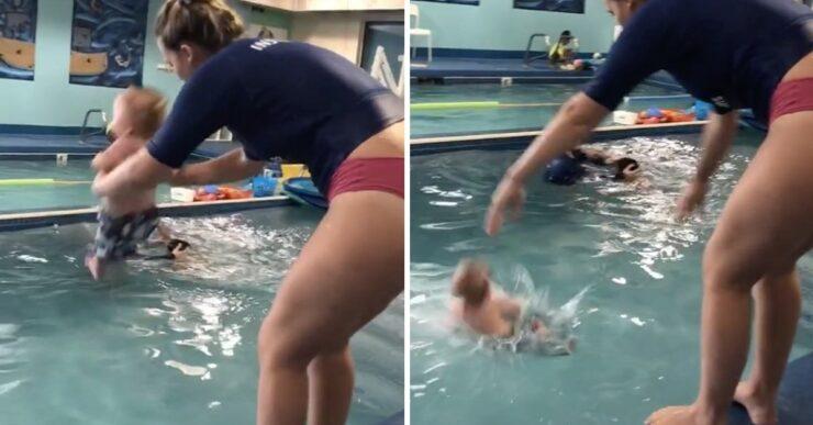 bambino gettato in una piscina