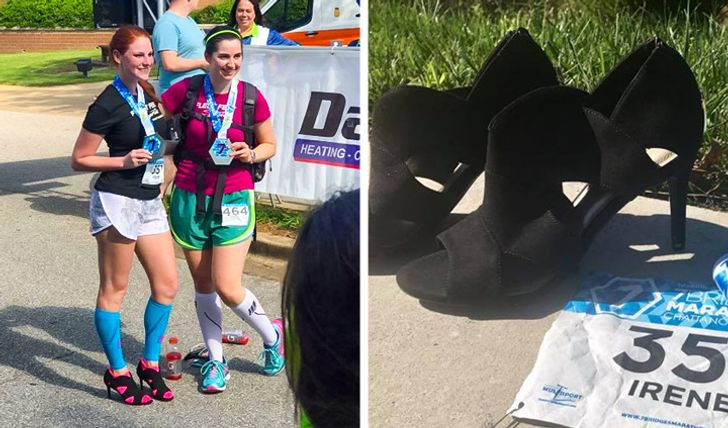 Correre una maratona con i tacchi a spillo alti