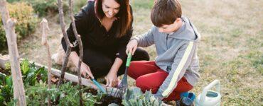 Mamma e figlio fanno giardinaggio