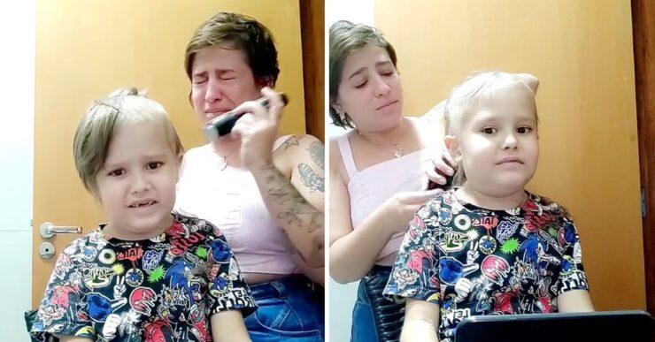 Mamma piange mentre taglia i capelli al figlio con leucemia