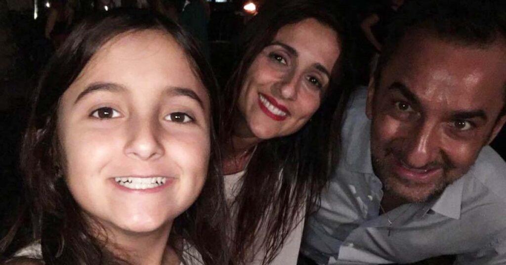 Nicola Savino, la moglie e la figlia