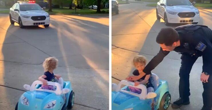 Poliziotto ferma la bambina