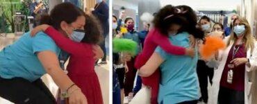 Bimba di 5 anni guarita dal cancro corre ad abbracciare la sua infermiera preferita