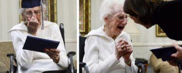 Anziana di 97 anni piange di gioia